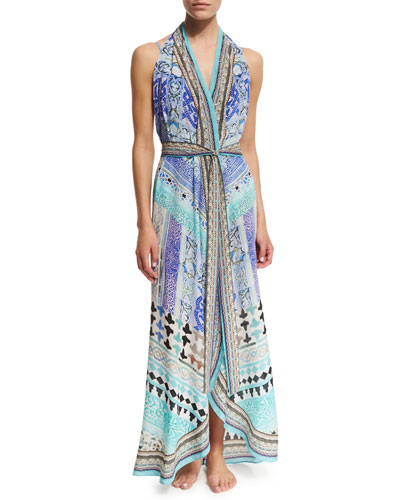 Printed Wrap Dress Coverup with Belt, Andalusia
