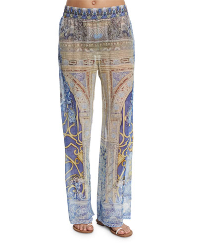Printed Wide-Leg Coverup Pants