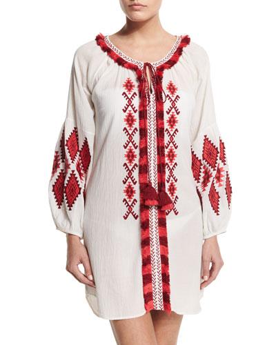 Tula Embroidered Crepe Dress, White