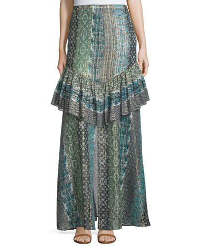Meredith Printed Maxi Skirt, Stripe Print