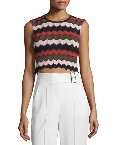 Leo Sleeveless Zigzag Crop Top, Army/Primrose/Black