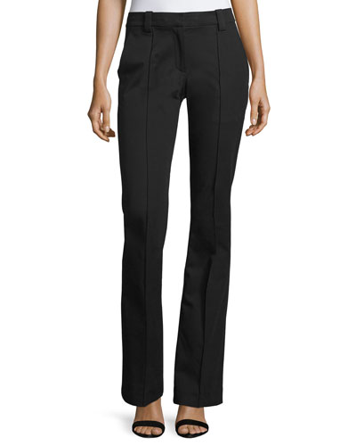 Joseph Boot-Cut Gabardine Pants, Black
