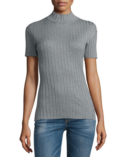 Short-Sleeve Funnel-Neck Top