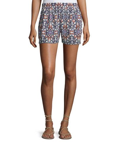 Sibylle Butterfly-Print Silk Shorts