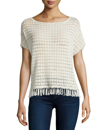 Amal Textured Top with Fringe Trim