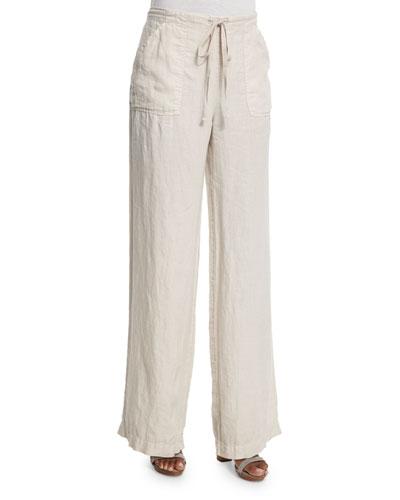 Ragni Linen Wide-Leg Drawstring Pants, Flax
