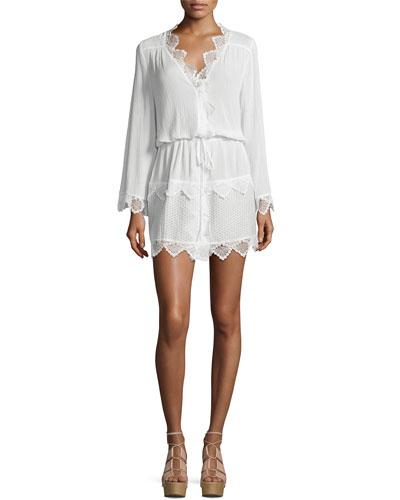Elsewhere Kimono Tiered Lace Kimono, White