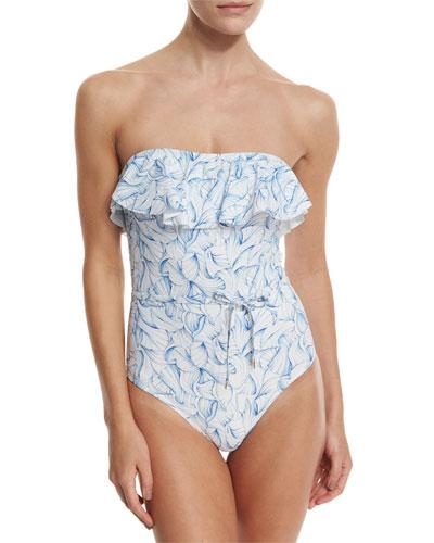 Sapri Strapless Ruffle One-Piece Swimsuit, White Ellora