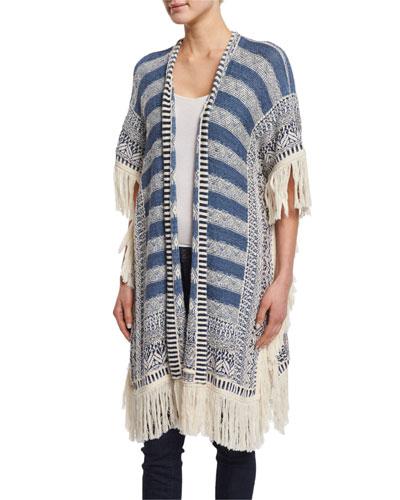 Brysiss Fringe-Trim Sweater, Blue Pattern