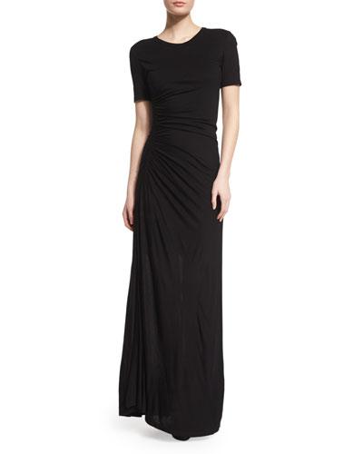 Laila Short-Sleeve Ruched Maxi Dress, Black