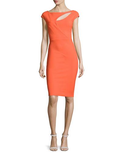 Jobeth Cap-Sleeve Yoke-Cutout Ruched Dress, Mandarin