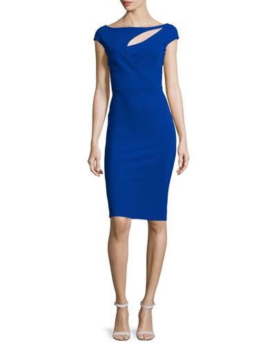 Jobeth Cap-Sleeve Yoke-Cutout Ruched Dress, Inchiostro