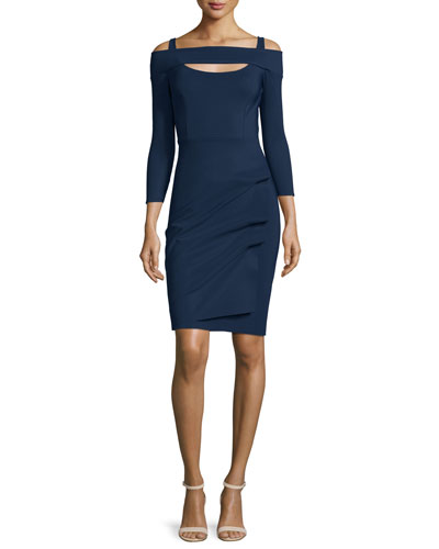 Nellie Long-Sleeve Off-the-Shoulder Ruched Dress