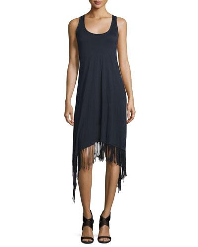 Ibiza Sleeveless Fringe-Trim Dress, Black