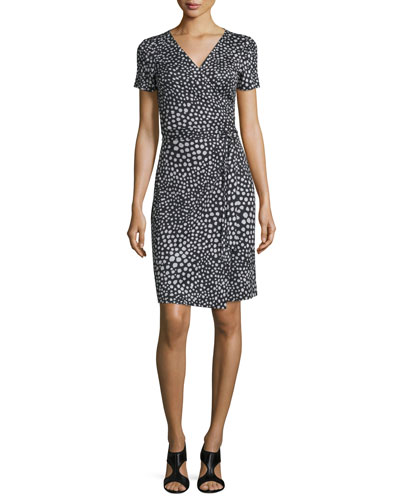 New Julian Two Silk Starfish Dot Wrap Dress, Black