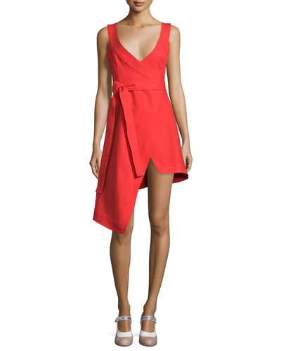 Caterina Sleeveless Poplin Wrap Dress, Red