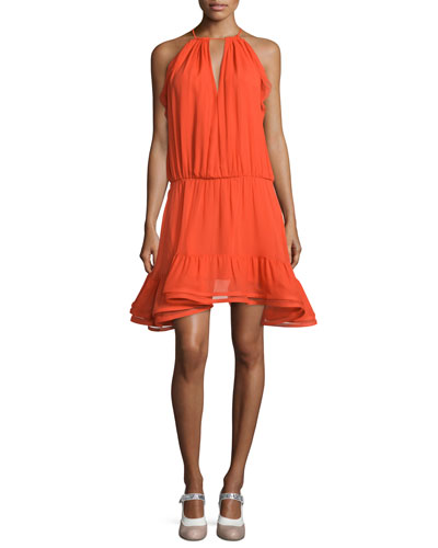 Monic Sleeveless Silk A-Line Dress, Red-Orange