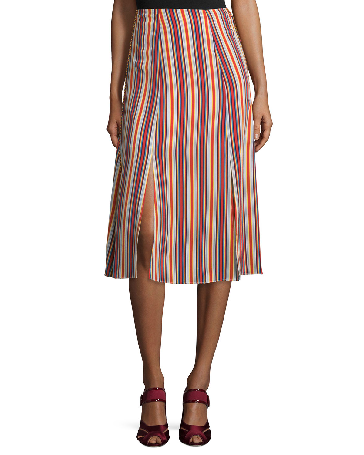 Leoni Silk Striped Midi Skirt, Multicolor