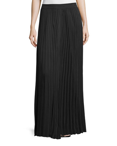 Hilde Pleated Maxi Skirt, Black