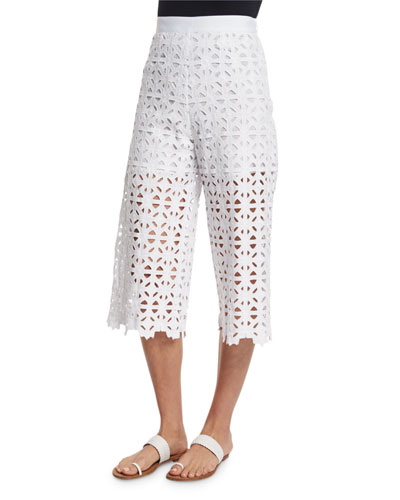 Dana Crocheted-Lace Cropped Pants