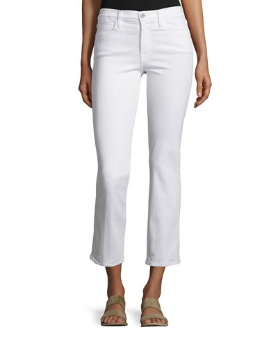 Le High Straight-Leg Cropped Jeans, Blanc