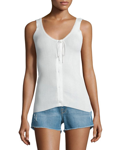Lace Button-Front Tank, Blanc