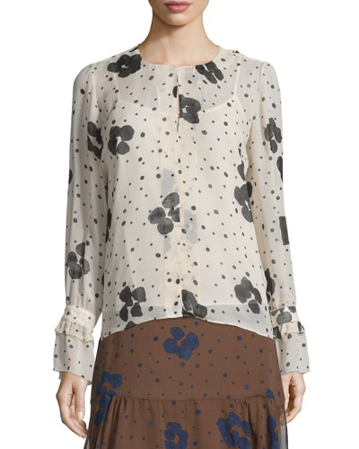 Long-Sleeve Floral Silk Top, Nude