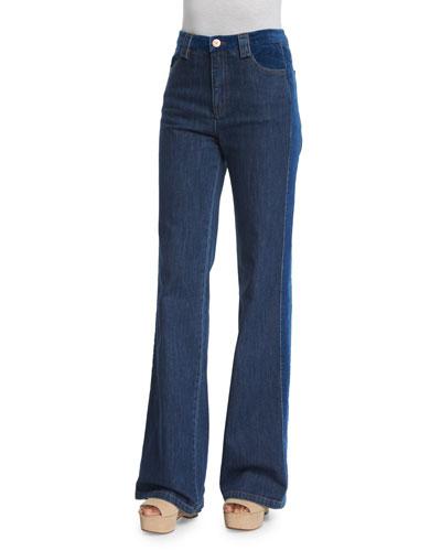 High-Rise Velvet-Trim Jeans, Washed Indigo