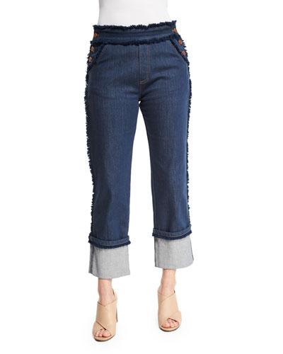 Cuffed Raw-Edge Stretch Jeans, Dark Navy