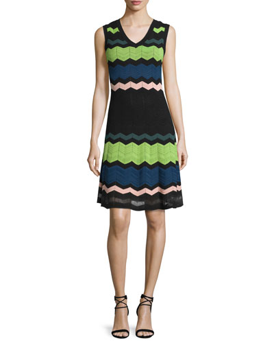 Sleeveless V-Neck Zigzag Dress, Black Multi