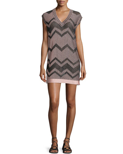 Cap-Sleeve Mesh Lurex® Mini Dress, Blush