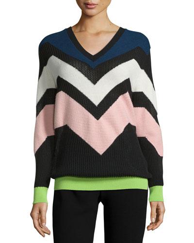 Graphic Intarsia V-Neck Sweater, Navy
