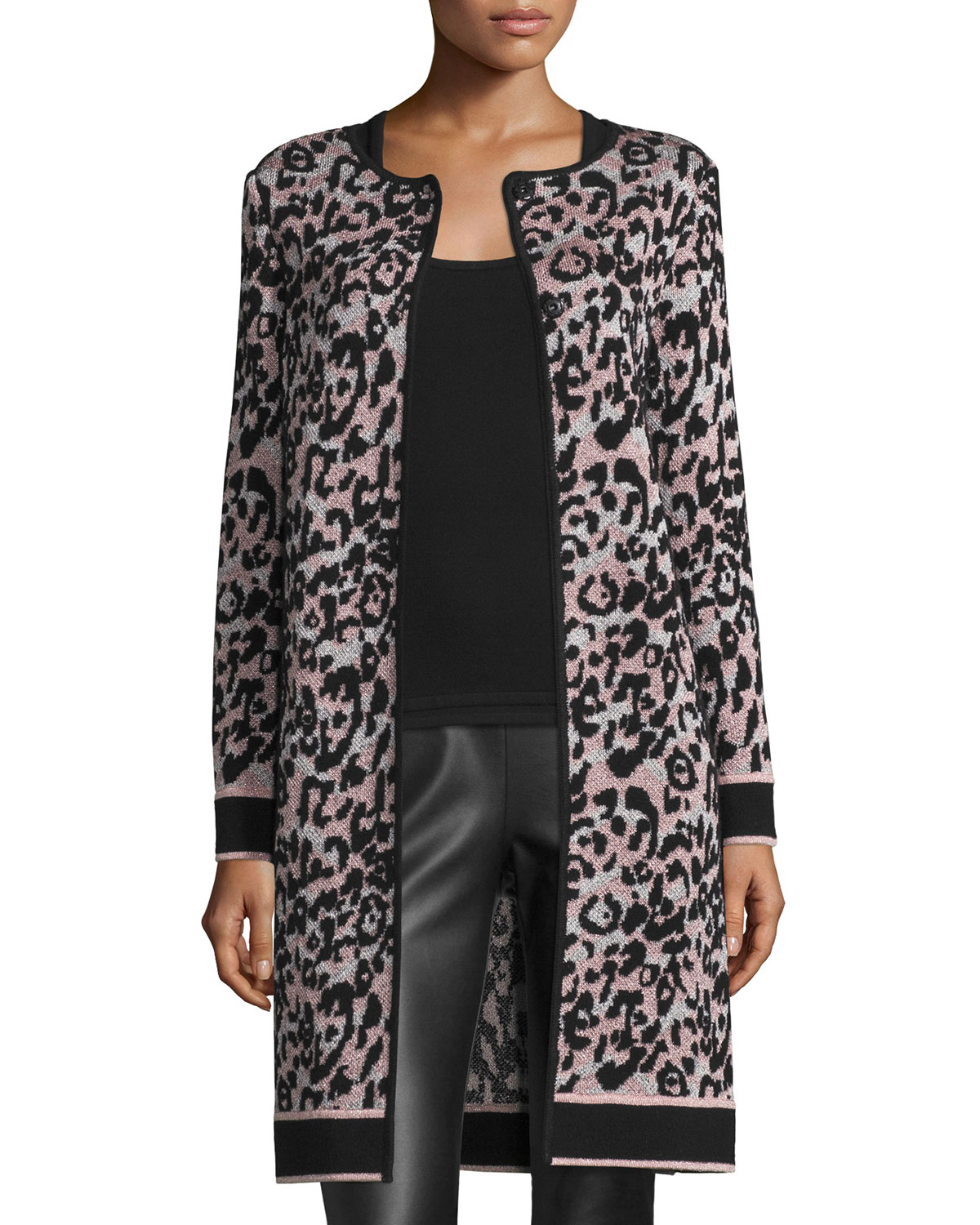 Metallic Animal-Print Long Coat