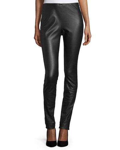 Faux-Leather Leggings, Black