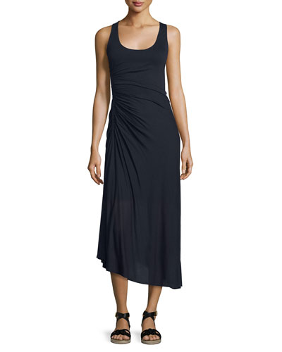 Lexie Ruched Jersey Midi Dress, Midnight