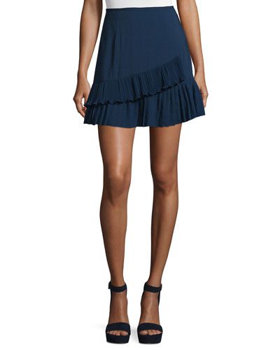 Pleated Mini Flounce Skort, Navy