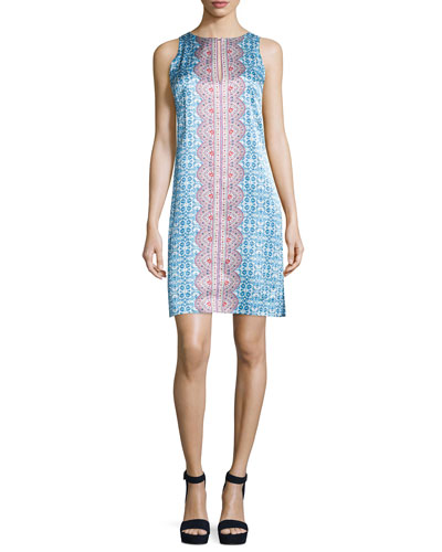 Sleeveless Printed Shift Dress, Blue/Multi