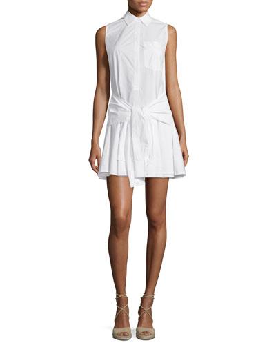 Sleeveless Tie-Waist Poplin Shirtdress, Soft White