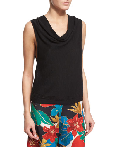 Rod Pointelle Cowl-Neck Tank, Black