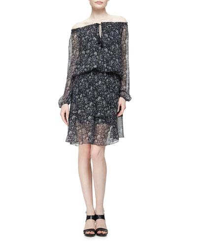 Charisse Off-The-Shoulder Floral-Print Dress, Legend