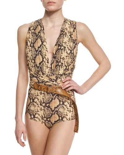 Python-Print Belted One-Piece Swimsuit