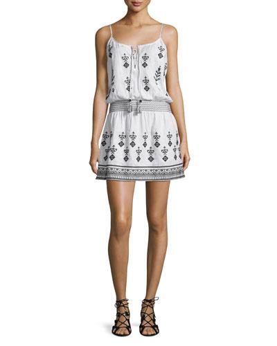 Ullman Smocked-Waist Embroidered Dress, White