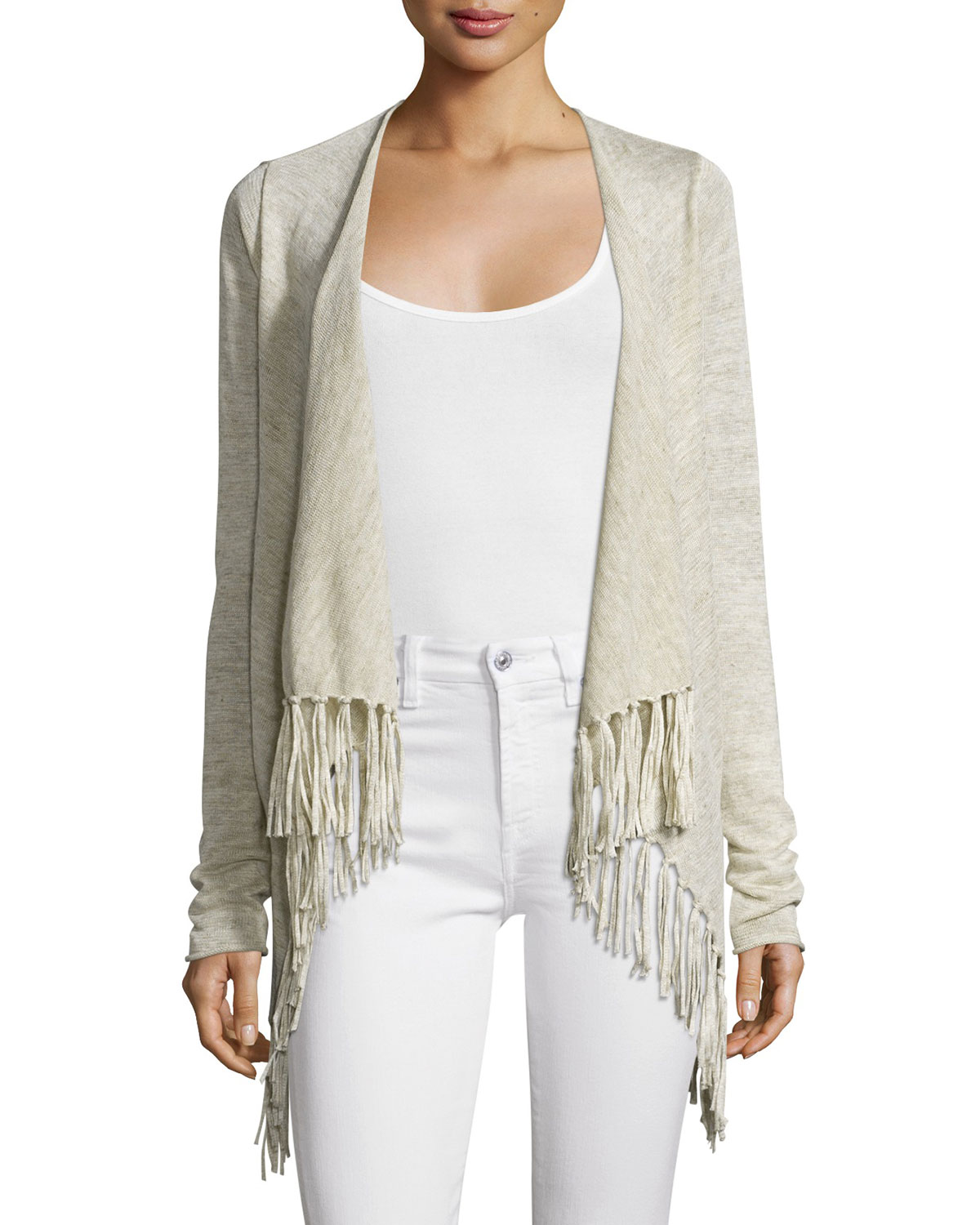 Lenzetta Open-Front Fringe-Hem Sweater, Linen Heather