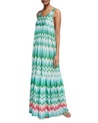 Wavy-Print Sleeveless Maxi Dress