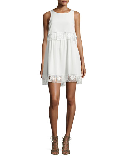 Callei Floral Crochet-Trim A-Line Dress, Ivory/Ivory