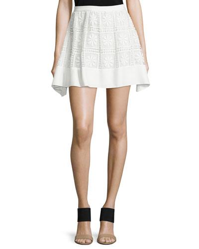 Bianca Floral-Macrame Skirt, Ivory