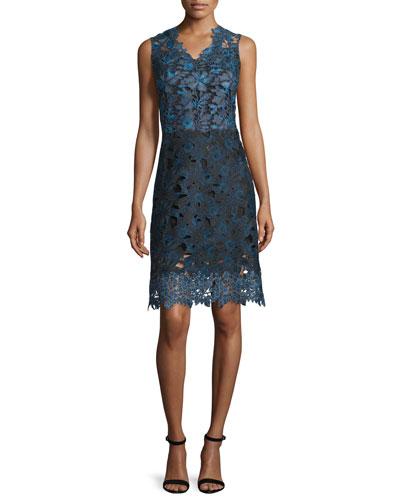 Savon Sleeveless Floral Lace A-Line Dress, Navy