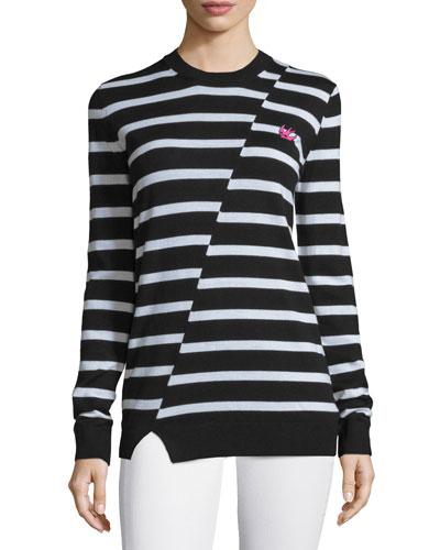 Striped Wool Crewneck Sweater, Black/White
