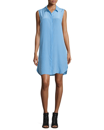 Lanie Sleeveless Striped Shirtdress, Regatta/Nature