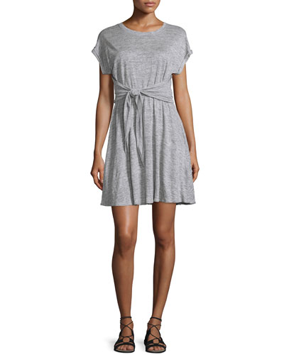 Cap-Sleeve Tie-Waist Jersey Dress, Gray Melange
